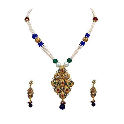 JewelryGift Sparkling Pearl Necklace Set 18K Gold Plated Green, Blue Crystal Studded Exclusive Ethnic Bridal Collection Wedding Jewellery Set for Wife Sister Mother