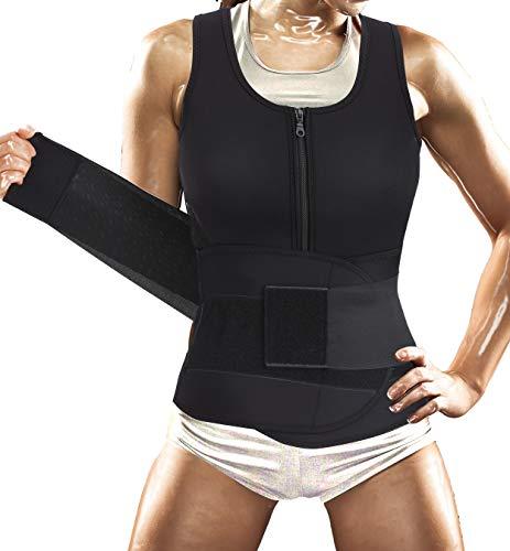 Women Sauna Suit Waist Trainer Vest for Sport Workout Weight Loss Corset with Belt Neoprene Shirt Body Shaper Tank Top (L, Black Hot Sauna Shaper Suit Belt Vest)