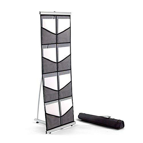 Mesh Floor Catalog Rack - Roll Out Brochure Holder 8 Pockets - Portable Literature Display - Leaflet Holder - for Tradeshow and Office Use