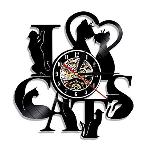 qweqweq Meow Cat Retro Vinyl Record Wall Clock Modern Design Cat Shop Decoration 3D Watch Wall Watch Home Decoration