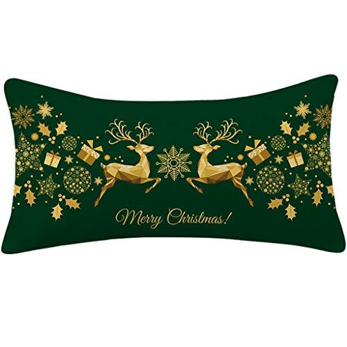 50CMx30CM Cotton And Linen Pillowcase, Red And Green Christmas Elk Square Cushion Lumbar Cushion, Festive Decoration Pillow, Color Pillow