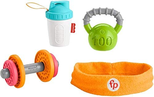 Fisher Price Baby Biceps Gift Set 4 fitness themed baby toys with wearable costume bib rattle product image