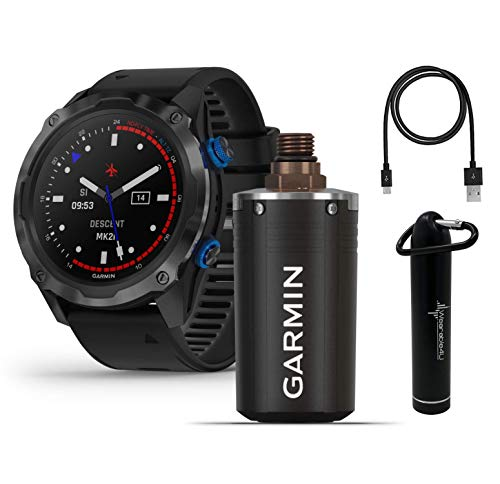 Garmin Descent Mk2i Watch-Style Dive Computer (Titanium with Black Band) and Descent T1 Transmitter with Wearable4U PowerBank Bundle