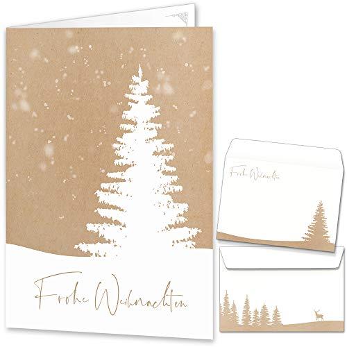 beriluDesign® Weihnachtskarten mit Umschlägen (15er Set) - Klappkarten mit Weihnachtsbaum-Motiv für die schönsten Weihnachtsgrüße im Kraftpapier-Look - Frohe Weihnachten