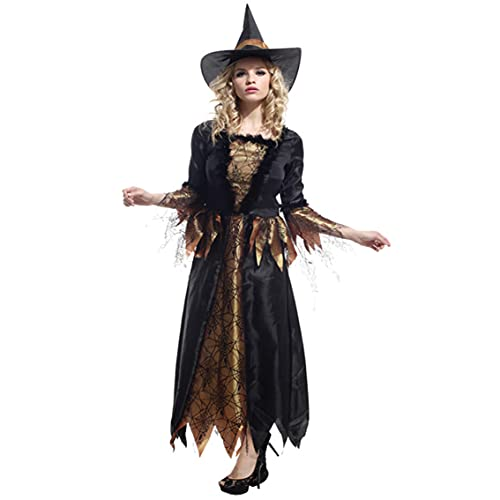 Halloween Kostüm, Hexen Kostüm,Halloween Kostüm Damen,Rock, Hexenhutanzug Karneval Halloween Weihnachten Kostüm Erwachsene Unisex(S~M) M