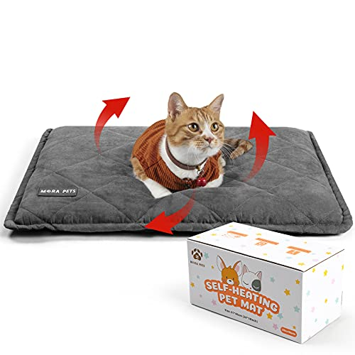 Self Heating Cat Pad Self Warming Cat Mat Thermal Pet Dog Bed Pad 35x23 Inches Removable Cover Outdoor Indoor for Pets…