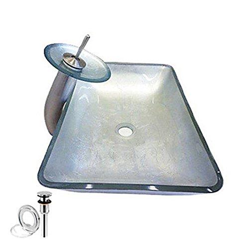 HomeLava Hartglas Waschbecken mit Wasserfall Wasserhahn, Wasserablauf und Montage Ring