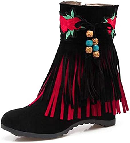 ZHZNVX Calzado de damen Stiefel de Gamuza de otoño e Invierno Botines con Punta Puntiaguda del talón heterotípico Botines Borla schwarz Beige   rot Fiesta y Noche