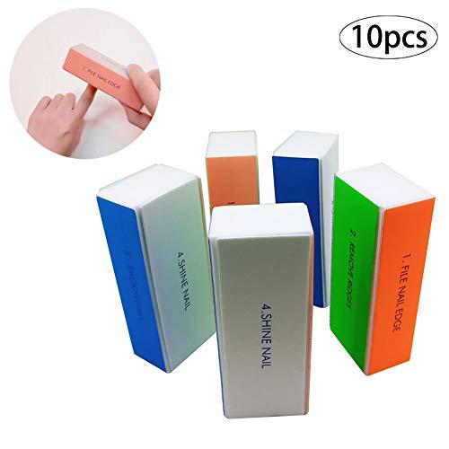 Gcroet 10PCS 4-Way Ongles Bloc Nail Professional PonçAge PonçAge Fichiers Fournitures Nail Art Salon D'Utilisation à Domicile