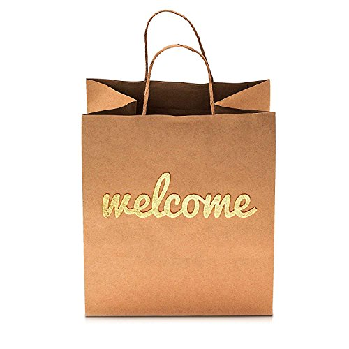Welcome Bags - 25 Pack - Luxury 180gsm Thick Durable - Double Sided Gold Foil - 10.5