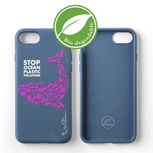 Wilma Umweltfreundliches, biologisch abbaubare Handy Schutzhülle Kompatibel mit iPhone 6 / 6S / 7/8, Stop Meeres Plastik Verschmutzung, Kunststoff-frei, abfallfrei, ungiftig, Vollschutz Hülle - Wal