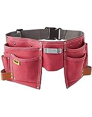 Rolson 68630 gereedschapsriem van leer met twee zakken, roze