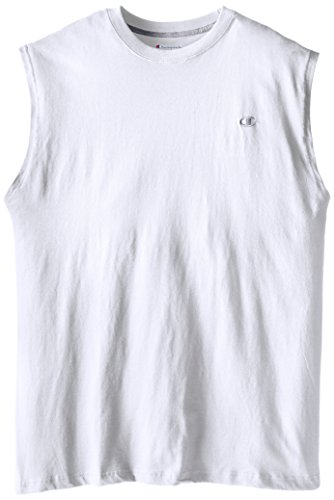Champion Men's Big-Tall Jersey Muscle T-Shirt, White, 3X/Tall