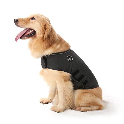 Mint Hundemantel zur Linderung von Angst,leichtes Wickelhelmd für Hunde mit Angstzustände (L, Grau)