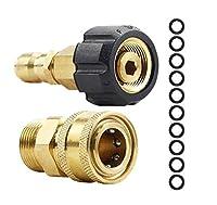 M22-14mm 3/8インチ高圧洗浄機クイックコネクタアダプターセット、ステンレス鋼フィッティングアダプタースイベルクイックコネクトプラグセット