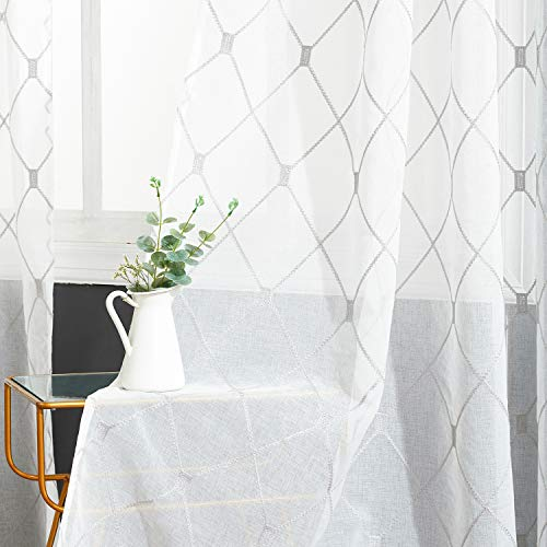 Top Finel White Sheer Curtains 63 Inch Length Grey Embroidered Diamond Grommet Window Curtains for Living Room Bedroom, 2 Panels