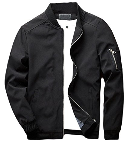 sandbank Men's Slim Fit Lightweight Softshell Flight Bomber Jacket Coat (US M =Asian tag 3XL,Black #2)