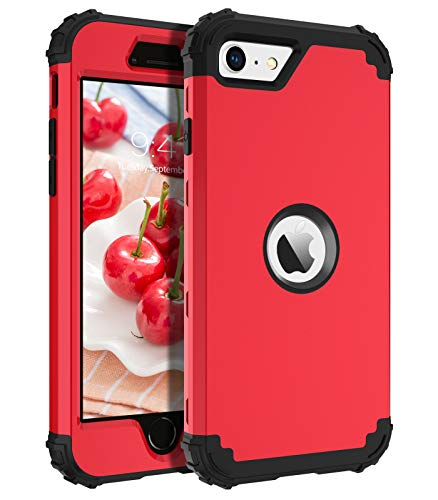 BENTOBEN iPhone SE Case, Phone Case iPhone SE 2020, Heavy Duty 3 in 1 Full Body Rugged Shockproof Hybrid Hard PC Soft Rubber Bumper Drop Protective Girls Women Boy Men Covers for iPhone SE2, Red/Black