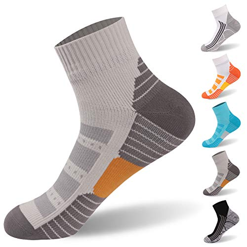 Running Socks, RANDY SUN Waterproof Socks Men and Women Tennis Socks Breathable Trail Running Hiking Cycling Socks, 1 Pair-Grey1-Ankle socks,Medium