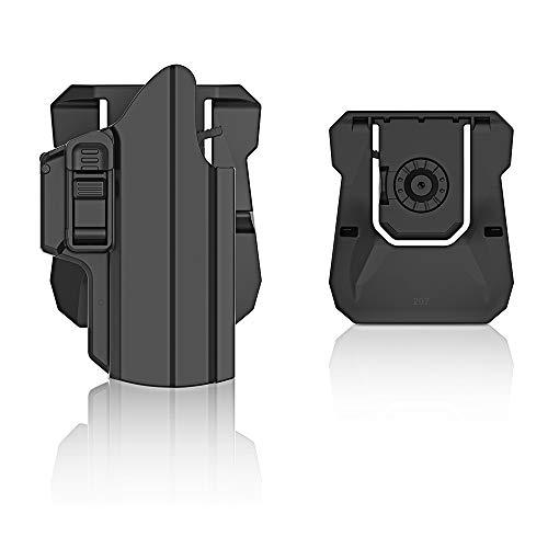 efluky Universal IPSC Holster Pistola Molle Pistolera Airsoft Gun Holster para Glock 17 19/HK USP/Beretta APX/Walther p99/Sig Sauer P320, Paddle 360°Adjustable