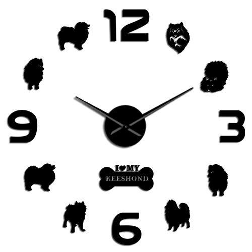 xinxin Reloj de Pared Keeshond Dutch Barge Dog 3D DIY Reloj de Pared Grande Sonriente Dutchman German Spitz Deutscher Wolfspitz Kees Creative Sticker Relojes