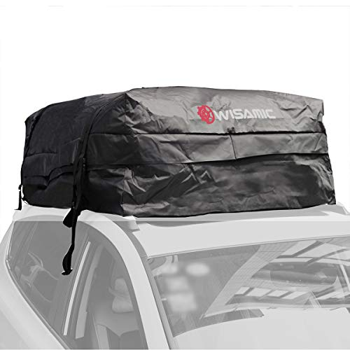 Wisamic Car Rooftop Cargo Bag Waterproof - 30 Cubic Feet Car Top Cargo Carrier Soft Rooftop Luggage Bag with Wide Straps for Jeep or SUV