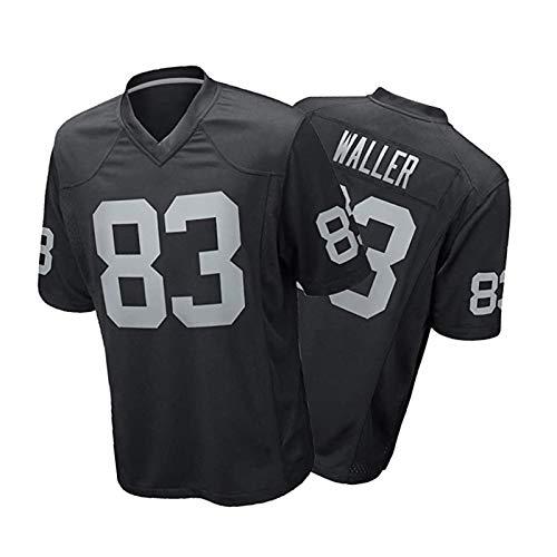 Waller Rugby Jersey # 83, Camiseta de Entrenamiento Casual para Hombres, Transpirable y de Secado rápido Sudadera, un Regalo para los fanáticos Black-XL