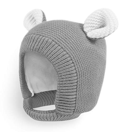 Happy Tree Toddler Winter Hat Kids Fashion Earflap Warm Thick Knitted Fleece Lined Baby Beanie Hat Cute Bear Knit Hood, Grey