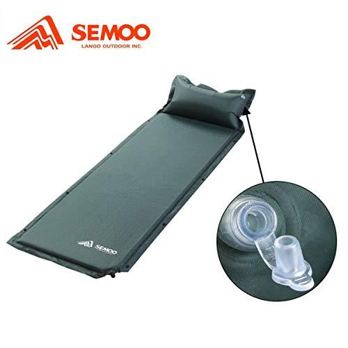 Semoo selbstaufblasende Luftmatratze mit Kissen, Wasserdicht, Partnerschlafsack Isomatte für Camping-Wandern, Dunkelgrün, 183x57x3 cm