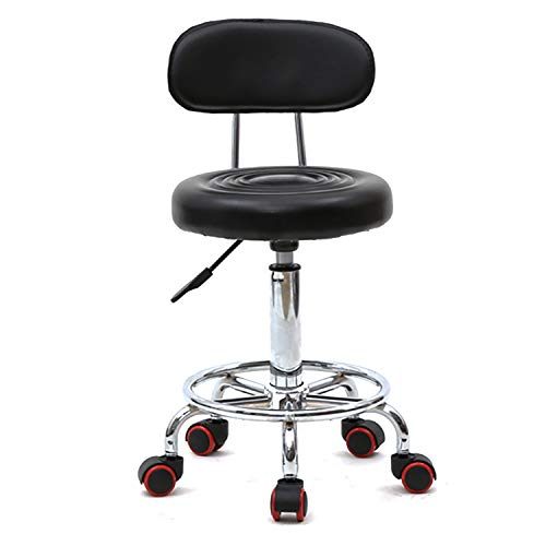 Black Swivel Bar Stools Rolling Stool for Office Kitchen Massage Work Swivel Chair,Adjustable Height Hydraulic Stool with Wheels