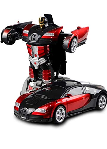Kendyy Remote Control Transformrobot Toy Car,Transformation Robot Model Toys,1:18 RC Deformed Vehicle with One-Button Deformation,360°Rotating,Speed Drifting for Kids,Best Gift for Boys&Girls (Red)