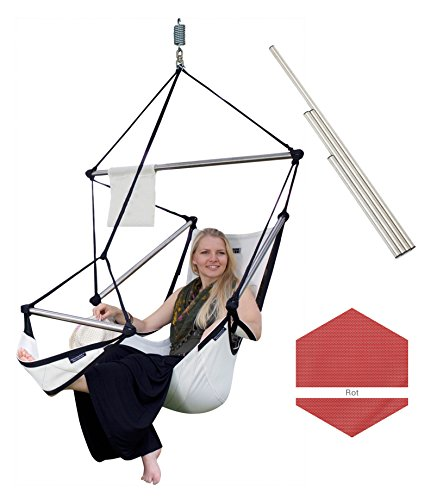 Crazy Chair Hängesessel ONE, wetterfest, hochwertig, bis 150kg Belastung, versch. Farben (Edelstahlstangen, Rot)