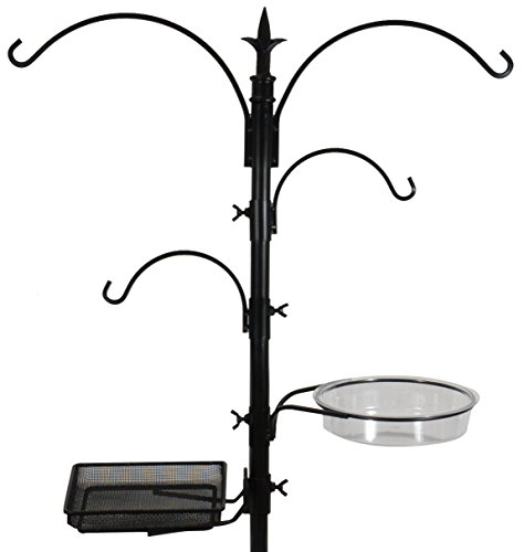 Sorbus Bird Feeding Bath Station, Metal Deck Pole for Bird Feeders, Great for Attracting Birds Outdoors, Backyard, Garden (Bird Bath Feeder Station - Black)