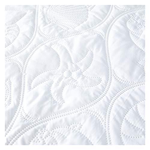 RHBLHQ Sábana Monocromo en Relieve Impermeable colchón Protector Estilo sábana Cubierta colchón colche Grueso Cama tapizada (Color : White A, Size : 135X190X30cm)