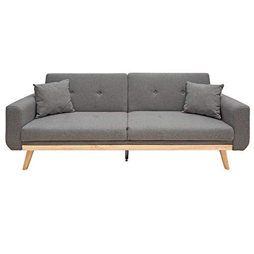 Invicta Interior Scandinavian Design 3-Sitzer Schlafsofa Skagen 215cm anthrazit Sofa Bettfunktion Couch Gästebett