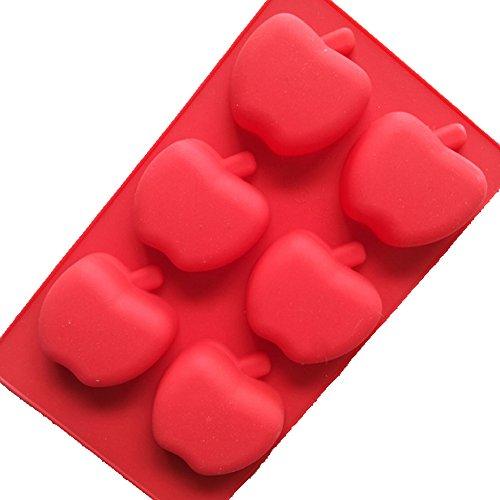 Silicon Cake Molds 6 Cavity 3D Apple Mould Fondant Decoration Tools Soap Candle Mould