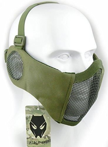ATAIRSOFT Tactical Airsoft CS Schutzmaske aus Nylon mit halbem Gesichtsschutz und Ohrenschutz OD Grün