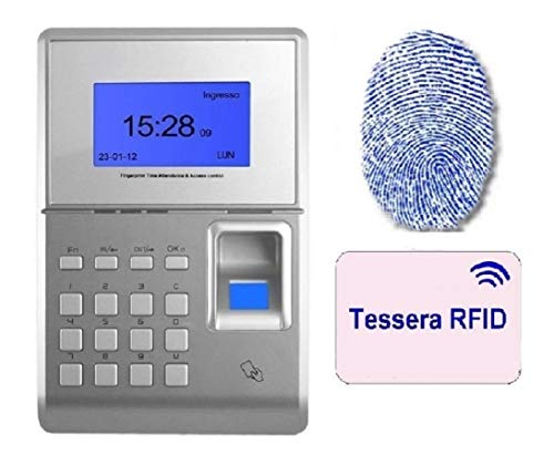 MARCATEMPO per RILEVAZIONE PRESENZE con Assistenza Software per 2 Mesi, Lettore Tessere E Impronta Digitale, Software in Italiano E 12 Tessere