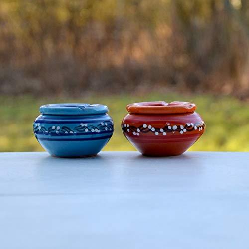 Yodeco - Lot 2 cendriers anti fumée bleu et orange - Petit modèle