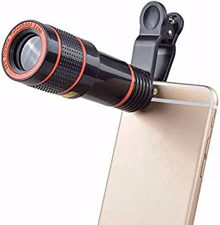 Phone Camera Lens, 12X Zoom Telephoto Lens for Smartphone 2 in 1 HD Dual Focus Monocular for Adults Clip on Telephone Lens...
