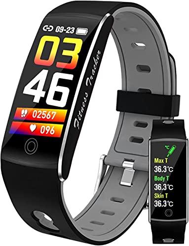 Reloj inteligente Fitness Tracker Temperatura corporal Monitor de presión arterial Medidor de oxígeno en sangre Monitor de ritmo cardíaco IP67 Impermeable Smartwatch-Gris