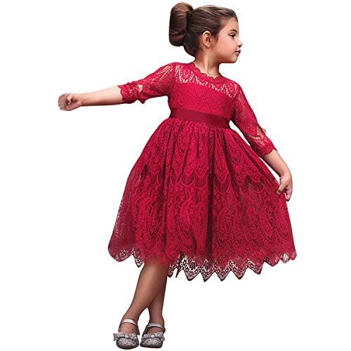 TTYAOVO Mädchen Spitze Gestickte Prinzessin Partykleid Blumenmädchen Hochzeitskleid 6-7 Jahre Rot