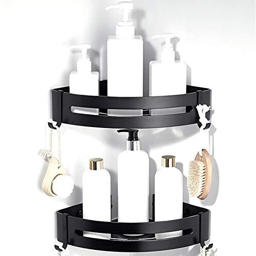 CROSOFMI Duschregal, Duschablage Ohne Bohren für Bad Küche Organizer, Aluminium (Dreieck, Schwarz,2 Packungen)