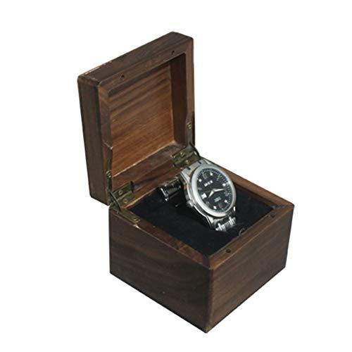 LAMZH Reloj Caja Caja para 1 Relojes Exhibición Relojes Caja para Relojes Madera Tapa Cristal Organizador Viaje, Estuche Regalo Caja Almacenamiento Reloj (Color : A)
