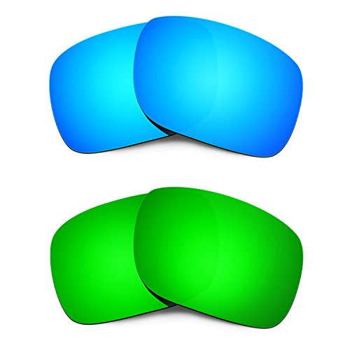 Hkuco Mens Replacement Lenses For Oakley Holbrook Blue/Green Sunglasses