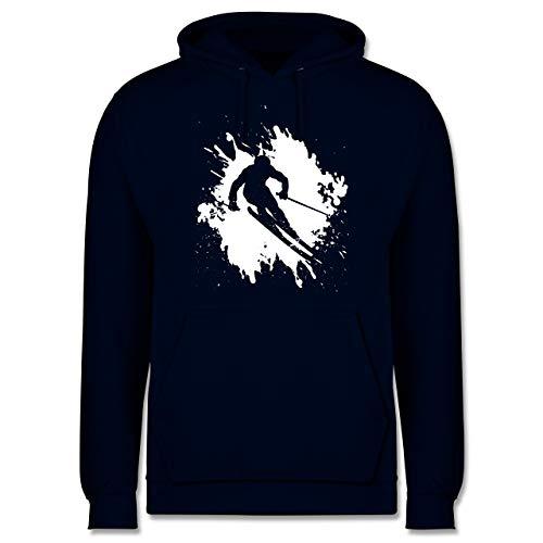 Wintersport - Skifahrer in Action - L - Navy Blau - Schnee - JH001 - Herren Hoodie und Kapuzenpullover für Männer