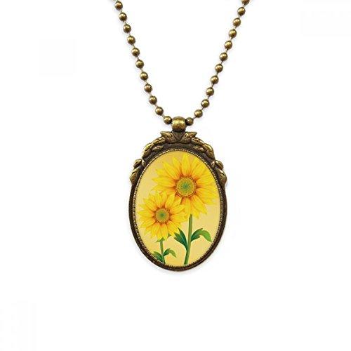 DIYTHINKER - Collar con colgante de flor de girasol amarilla verde, latón envejecido, joyería de lujo para regalo