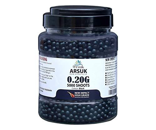 ARSUK Balines de Airsoft, Munición Bolas de Paintball 6mm, 0.20g de Alto Grado Precision de plástico Cantidades; 2000, 4000, 5000, 10,000 Balines (0.20g-BB-5000-Tub-Negro)