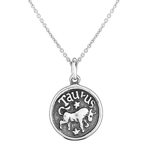 Stier Sternzeichen Astrologie Horoskop Runde Medaillon Anhänger Für Männer Frauen Halskette Antik Sterling Silber