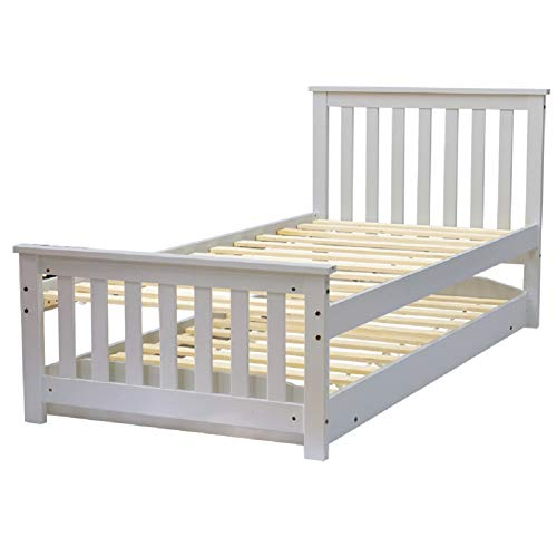 INMOZATA 3FT Solid Pine Wood Single Day Bed Frame with Pullout Trundle Headboard and Footboard Guest Bedstead Bedroom Furniture (Grey)
